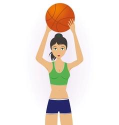 Girl throwing a basketball vector
