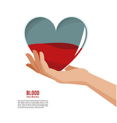 Hand holding heart blood vector