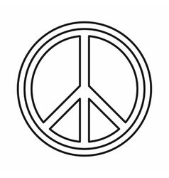 Peace sign round icon outline style vector