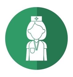 Professional nurse hat uniform medical shadow vector