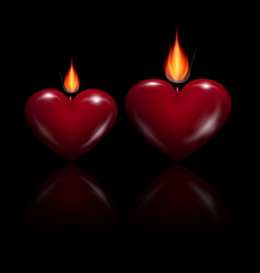 Red heart shaped candles vector