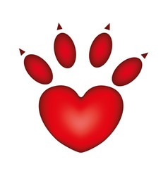 Red silhouette dog footprint icon vector