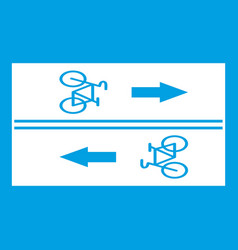 Road for cyclists icon white vector