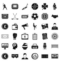 roulette icons set simple style vector image vector image