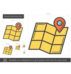 Route planning line icon vector