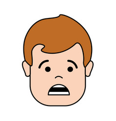 Scared man head and face with hair vector