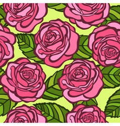 seamless background Pink roses with green leaves vector image vector image
