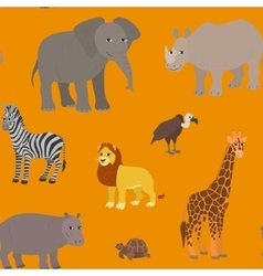 Seamless pattern with cartoon african animals vector