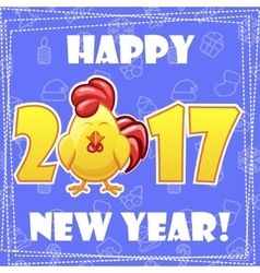 Set greeting card happy new year-cartoon rooster vector