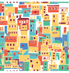 sunny mediterranean town village pattern vector image vector image