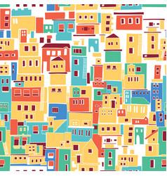 Sunny mediterranean town village pattern vector