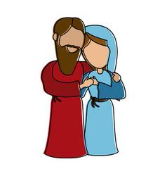 Virgin mary and joseph cartoon vector