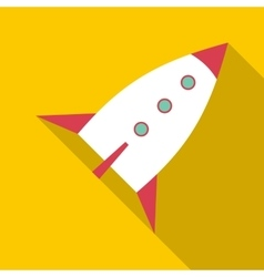 White retro rocket icon flat style vector