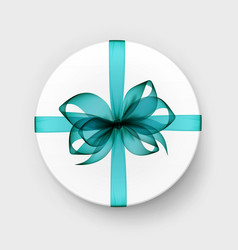 White round box with blue bow and ribbon vector