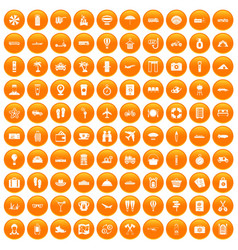 100 travel time icons set orange vector