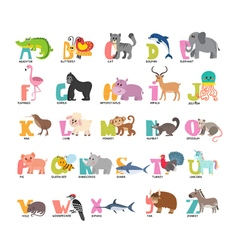 Cute cartoon animals alphabet from a to z vector