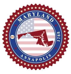 Label sticker cards of State Maryland USA vector image