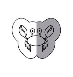 Sticker sketch contour crab aquatic animal icon vector