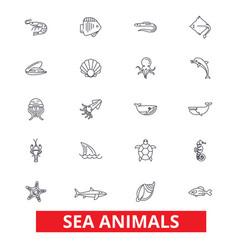 sea animals ocean creatures dolphin octopus vector image