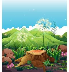 A stump near the mountains vector