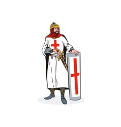 Knight with Shield and Sword Retro vector image