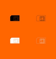 Sim card black and white set icon vector