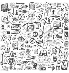 websocial media devices - doodles vector image