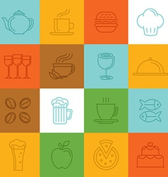 food linear icons and signs vector image