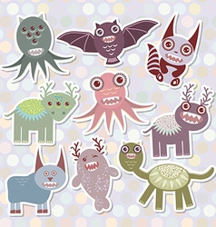 Sticker set funny monsters collection on polka dot vector