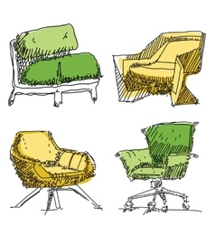 Contemporary furniture doodles vector