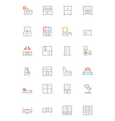 Furniture colored outline icons 3 vector