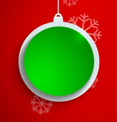 Green paper christmas ball on red background vector