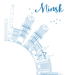 Outline minsk skyline with blue buildings vector