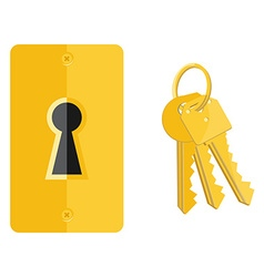 Keyhole and key icons vector