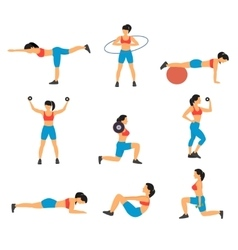 Fitness decorative flat icons set vector