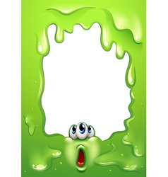 A border design with a three-eyed monster hiding vector image