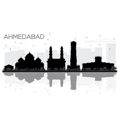 Ahmedabad city skyline black and white silhouette vector