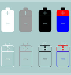 Battery white grey black blue and red icon vector