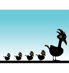 Black bird with baby birds vector image