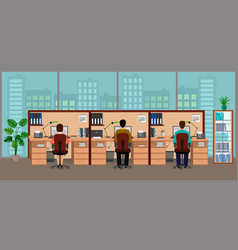 business office interior with big window and vector image vector image