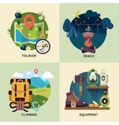 Camping Square Icon Set vector image