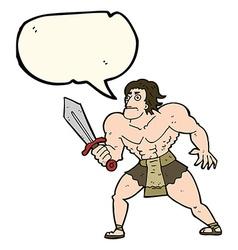 Cartoon fantasy hero man with speech bubble vector