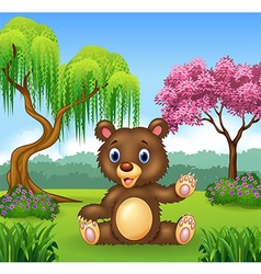Cartoon funny bear presenting vector image