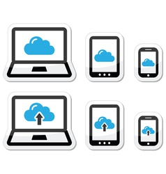 Cloud network on laptop tablet smartphone icons vector image vector image