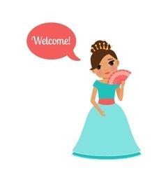Cute cartoon princess with speech bubble vector