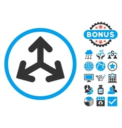 Direction variants flat icon with bonus vector