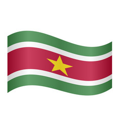 Flag of suriname waving on white background vector