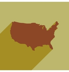 Flat icon with long shadow map of america vector