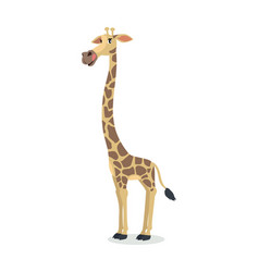 funny giraffe cartoon icon in flat design vector image vector image