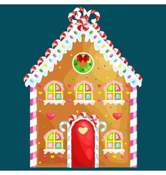 gingerbread house decorated candy icing and sugar vector image